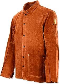 QeeLink Leather Welding Work Jacket Flame-Resistant Heavy Duty Split Cowhide Leather