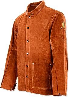 Leather Welding Work Jacket Flame-Resistant Heavy Duty Split Cowhide Leather Welder Jackets for Men & Women