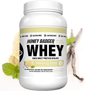 Honey Badger Natural Keto 100% Whey Protein Isolate | Vanilla Ice Cream | Gluten Free Paleo + Amino Acids BCAA Digestive E...
