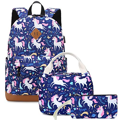 Backpacks for Girls Cute Unicorn School Bags Lightweight Kids School Bags Backpack with Lunch Box and Pencil Case (Blue-Unicorn)