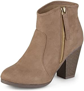 Journee Collection Women's High Heel Faux Suede Ankle Boots Taupe, 7.5 Wide Width US
