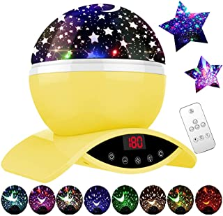 MJDUO Star Projector Lamp, Night Light Projector for Kids, Remote Control Star Light, Best Gift for Children Kids Bedroom (Yellow)