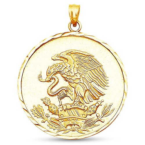 Sonia Jewels 14K Yellow Gold Diamond-Cut Ornate Mexican Eagle Pendant Charm (30x30 mm)