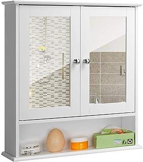 BAKAJI Mobiletto Specchiera Bagno Armadietto a Muro 3 Ripiani in Legno MDF Doppia Anta a Specchio con Apertura Centrale Dimensione 56 x 13 x 58 cm Bianco Specchio