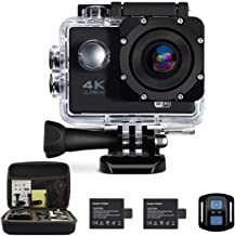 Oileus 4K Action Camera, Underwater Waterproof Camcorder, 1080P 16MP 170°Wide Angle, WiFi Sports Cam with Remote 2 PC 1050 MAh Rechargeable Batteries and 21 Accessories Kit