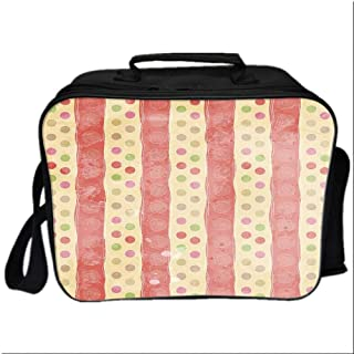 Abstract Picnic Bag Cooler Bag,Retro Stripes and Dots in Watercolor Featured Effects Nostalgic Pattern for Kids Boys Girls,10.6″Lx4.7″Wx8.2″H