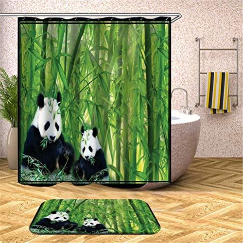 ZZZdz Panda Gigante En El Bosque De Bambú. Cortina De Ducha: 180X180Cm. Alfombra De Baño: 40X60Cm. Juego De Alfombrillas para Cortinas De Ducha Alfombrillas Alfombras Antideslizantes.
