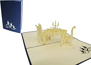 LIN Pop Up 3D Greeting Card as a Gift Card for a Romantic Candlelight Dinner, Dinner Table, (#127)