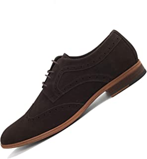 Nimbishoes Men's Popular PU Leather Casual Classic Lace up Suede Round Toe Oxfords Bullock Dress Shoes