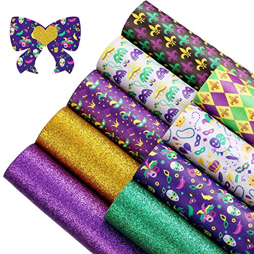 9 Pieces 7.87 x 11.81 Inch Big Mardi Gras Faux Leather Sheets Printed and Glitter Faux Leather Sheets Synthetic Leather Sheets for DIY Bows Earrings Making