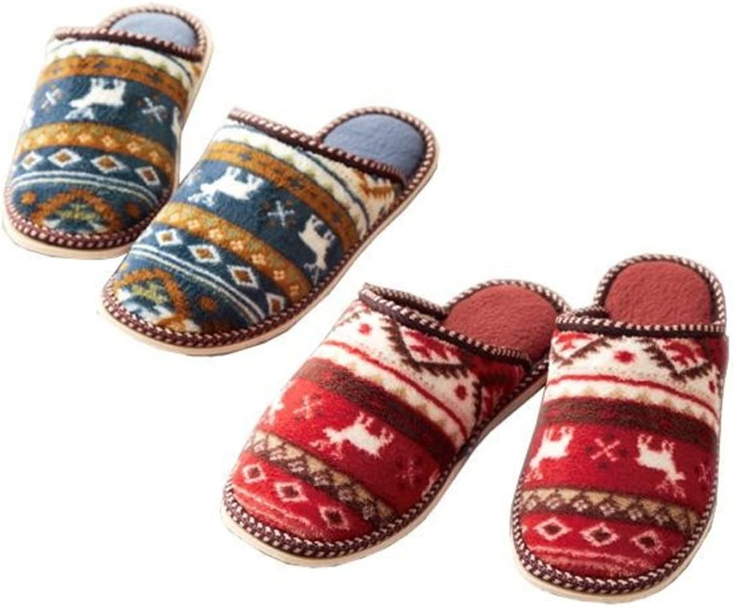 Comolife Nordic Warm & Comfortable Slippers 2 Pairs Set , Red & Navy bluee , Size   22.5-26 cm , US Size   Ladies   6-10.5 , Mens   4-8.5