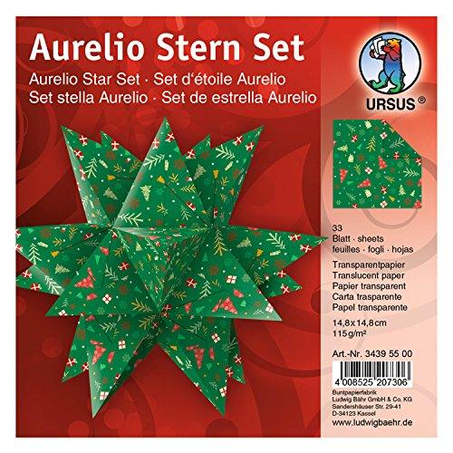 Ursus 34395500 - Faltblätter Aurelio Stern Winterzauber, rot / grün, 33 Blatt, aus Transpatentpapier 115 g/qm, ca. 14,8 x 14,8 cm, einseitig bedruckt, ideal als Weihnachtsdeko