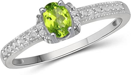 Jewelexcess 0.50 CTW Genuine Peridot Gemstone & 1/20 CTW White Diamond Ring in Sterling Silver