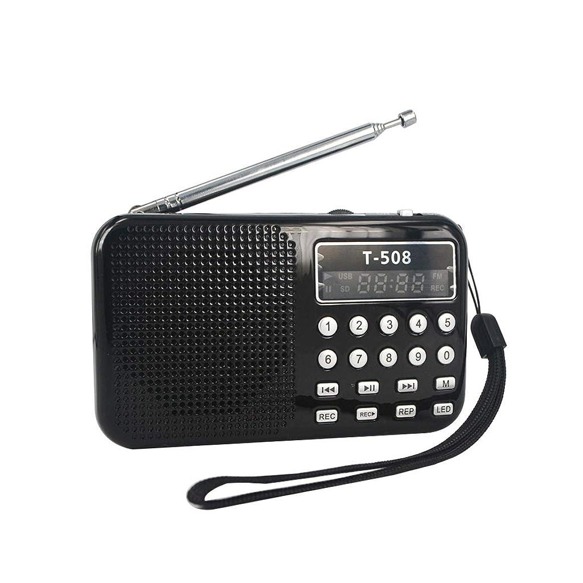 パワーセル戦う連想ラジオ 50mmの内部磁気のLEDステレオFMラジオのスピーカーUSB港TFカードエムピー?スリー音楽プレーヤー 時事情報 (Color : Black)