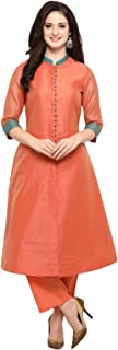 Inddus peach chanderi cotton kurta With Palazzo/Women Festive wear