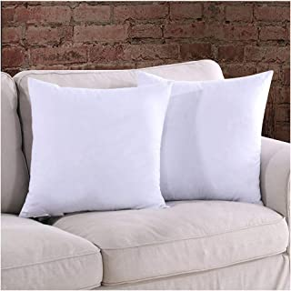 Homelike Moment 18x18 Feather Down Pillow Inserts - Square Couch Throw Pillow Insert Set of 2 18 x 18 100% Cotton Fabric