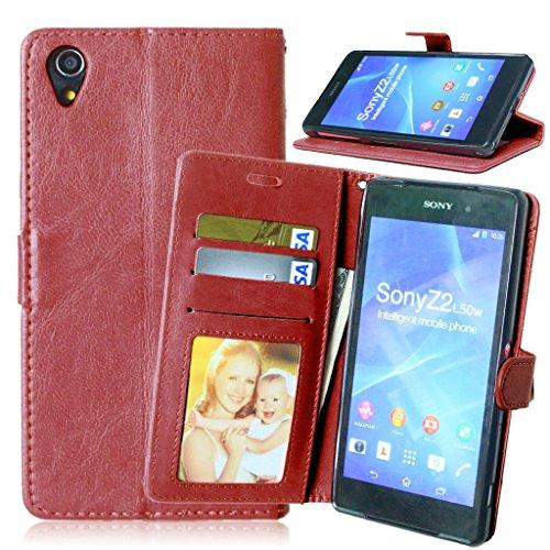 FUBAODA Xperia Z2, Funda Funda de Cuero de para Sony Xperia Z2, [Cable Libre] Función de Soporte Móvil, para de Crédito para Sony Xperia Z2 (D6502 D6503 L50W) (marrón)