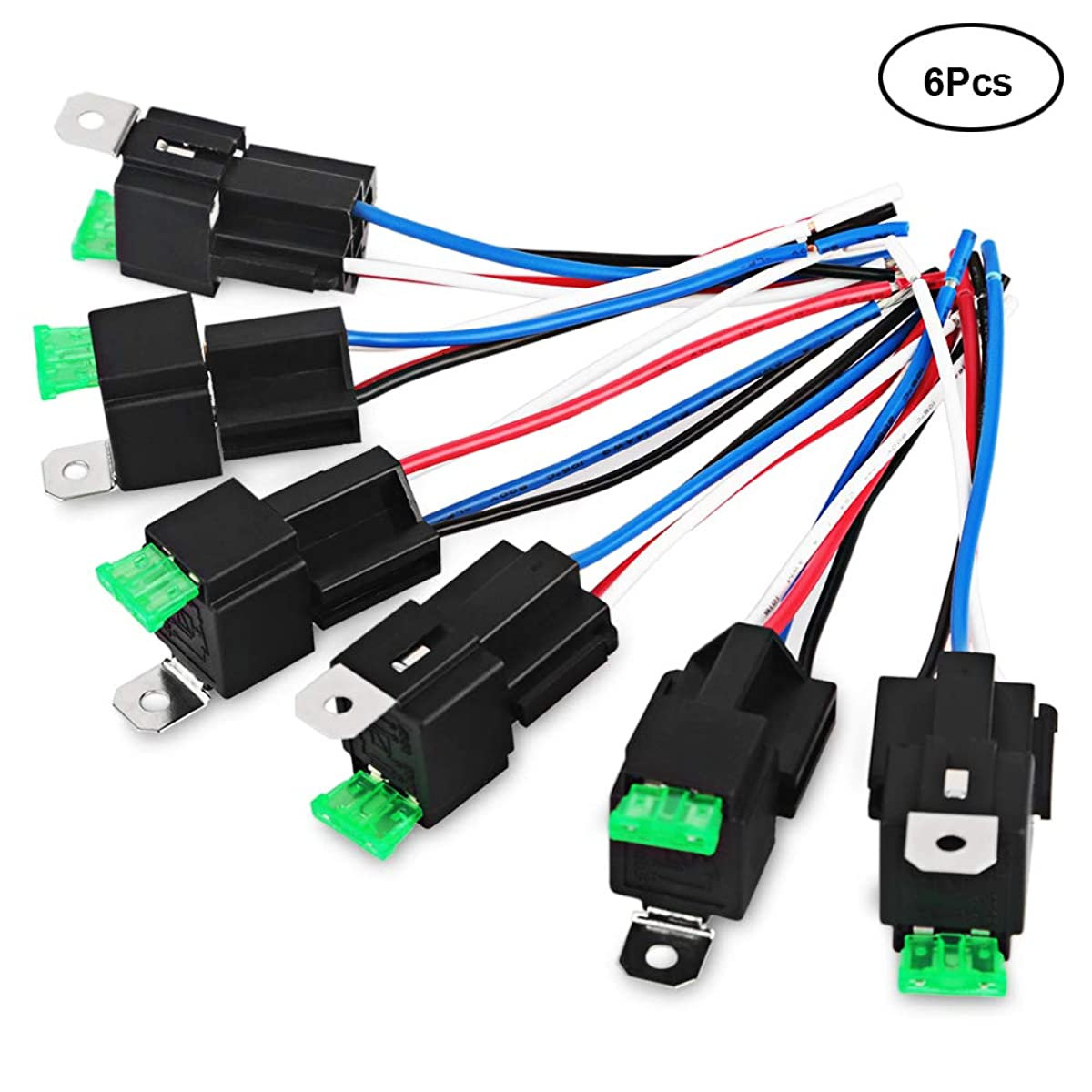 VANING 6 Pack 30A Fuse Relay Switch Harness Set 14 AWG Hot Wires- 4-Pin 12V DC SPST Automotive Relay (6 Pack)