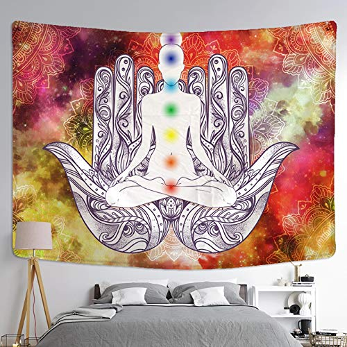 N/A Impresión 3D de tapices EstatuaIndiameditación 7 Chakra Tapiz de Pared psicodélico Mandala paño de Pared Yoga Alfombra decoración Pared 130 CM X 150 CM