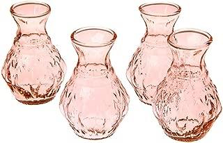 Luna Bazaar Vintage Pink Glass Vase (4-Inch, Bernadette Mini Ribbed Design, Set of 4) - Decorative Flower Vase - for Home Decor and Wedding Centerpieces