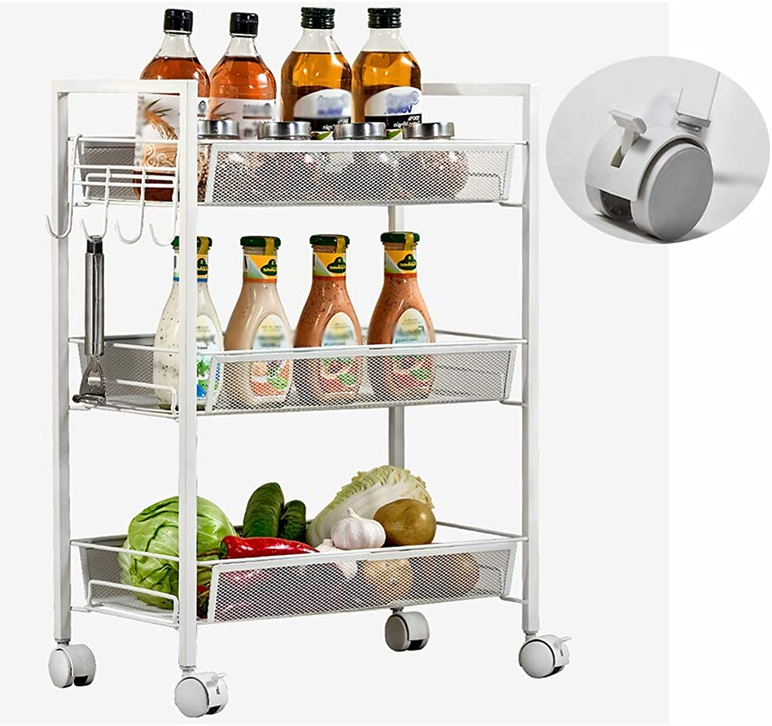 XLong-Home Trolley Rack Vegetable and Fruit Flower Pot Storage Shelf Three Floors White 45X26X63cm