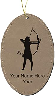 LaserGram Faux Leather Christmas Ornament, Archer Woman, Personalized Engraving Included (Light Brown Oval)
