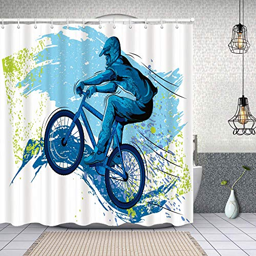 Cortina de Baño con 12 Ganchos,BMX de Deportista Ciclismo Bicicleta Extrema Freestyle Triatlón Bicicleta Velocidad de Ciclo,Cortina Ducha Tela Resistente al Agua para baño,bañera 180X180cm