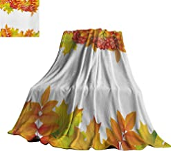 RenteriaDecor Rowan,Throw Blankets Autumn Branches Border Design with Ashberries and Dried Leaves Graphic Comfortable and Warm Beach Blanket 60