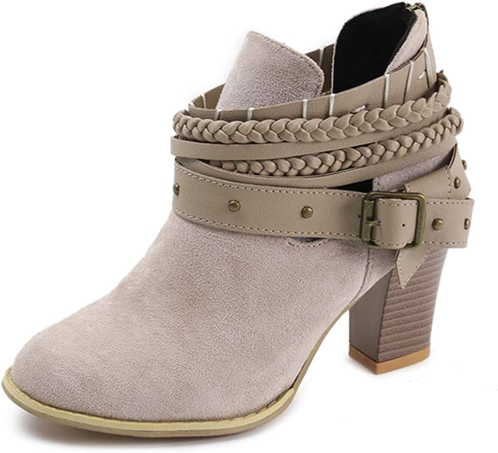 Dressfirst Recommendation Womens Ankle Boots Casual Heel Suede Chunky Sli 2021 Block