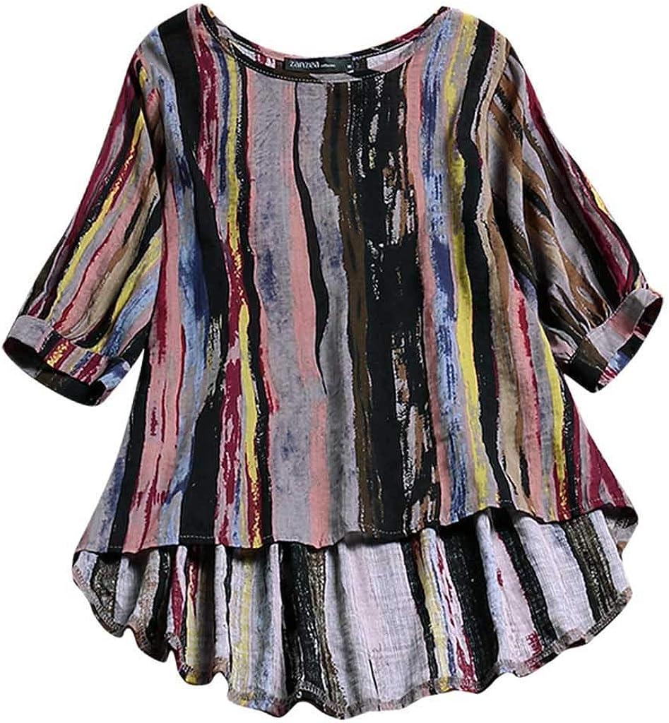 Max 66% OFF TOTOD Blouse for Women Award-winning store Loose Color Print Linen Stripe Irregular