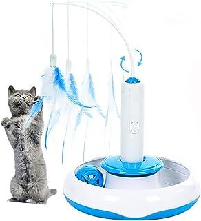 Juguete de Gato, moonlux Juguete Interactivo Eléctrico para Gato con Movimiento Giratorio de Pluma y Pelota Extraibles