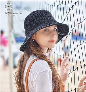 YJWOZ Sombrero de Pescador con Protector Solar Sombrero de Sol de Verano toldo de algodón para Mujer Sombrero para el Sol Hecho a Mano Sombrero de Playa Plegable 6 Colores Opcionales Sombrero para el