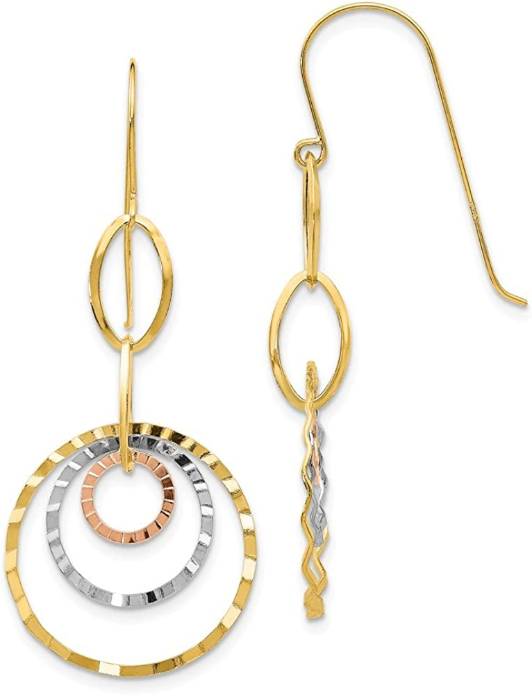 14k Tri Color Yellow White Gold Textured Circle Drop Dangle Chandelier Earrings Fine Jewelry For Women Gifts For Her