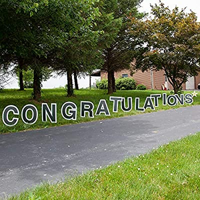 Vispronet Congratulations Yard Signs with Stakes – Each Letter is 18in Tall – Includes Bonus Star – Weather-Resistant Signs and Steel Stakes