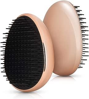 Navaris cepillo de pelo - Peine para desenredar el cabello - Cepillo anti tirones pequeño - Cepillo redondo portátil y compacto en rosa oro negro