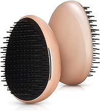 Navaris Small Detangling Styling Hairbrush - Compact Mini Handbag Brush Suitable for All Hair Types for Travel Office On the Go - Metallic Rose Gold