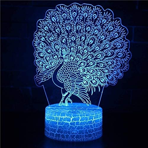 SZG Peacock Theme Ranking TOP9 3D Lamp Touching Ranking TOP12 Light Room Night Home Rai LED