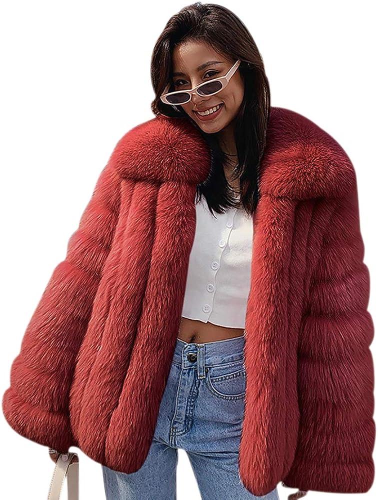 Fluffy Faux Fox Fur Coat Jacket Winter Warm Women patchwork Jacket Outerwear Female Lapel Collar Waist coats