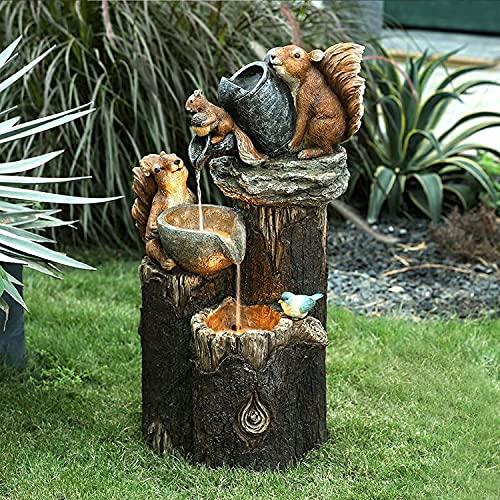 Squirrel/Duck Pressure Water Statue Solar Powered, Cascading Freestanding Garden Resin Statue, Animal Water Feature Fountain Decoration (#B)