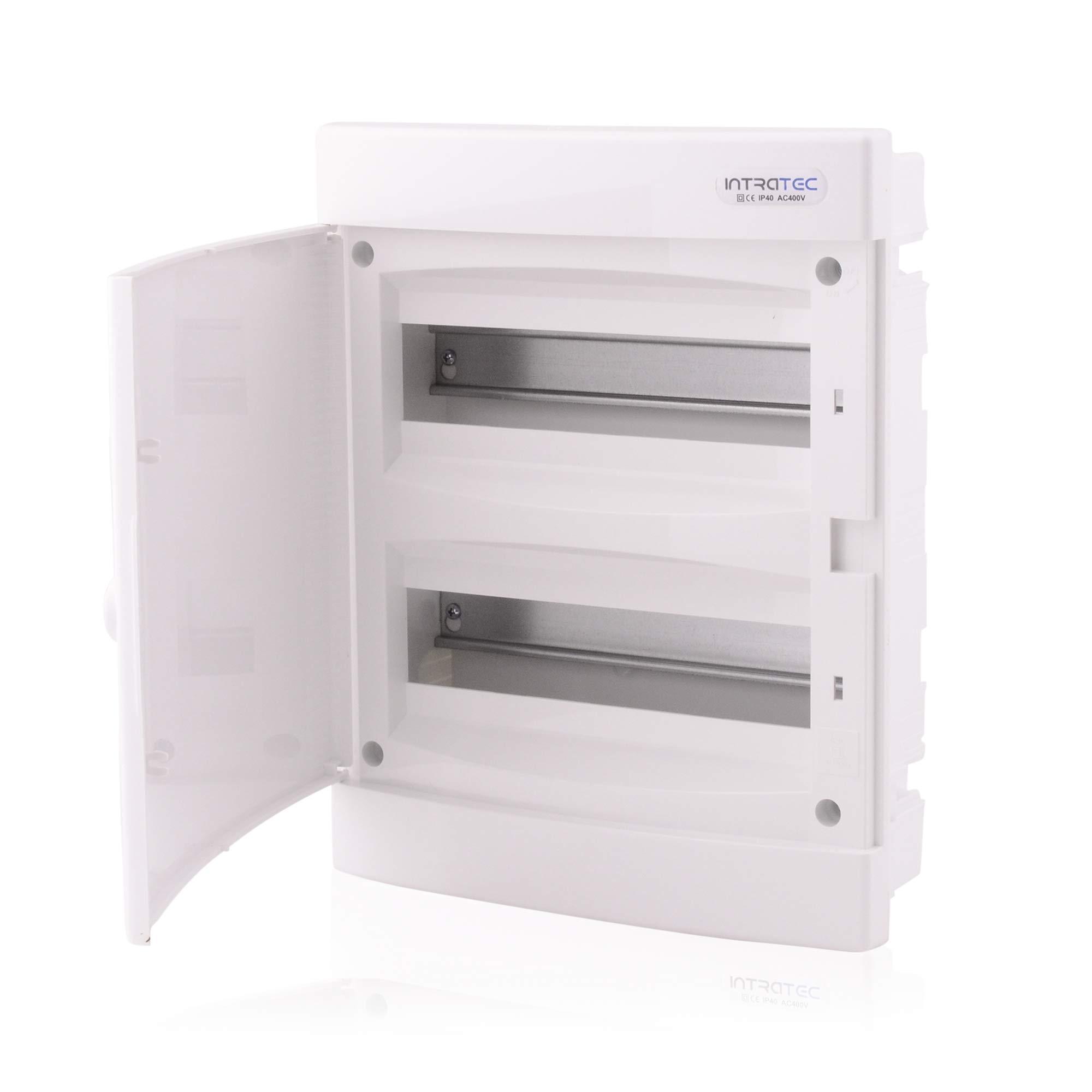 Caja de fusibles Caja del distribuidor IP40 empotrada 2 filas de hasta 24 módulos Puerta blanca para la instalación de la habitación seca en la casa: Amazon.es: Bricolaje y herramientas