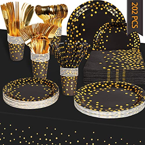 Black and Gold Party Supplies - 202 Piece Set