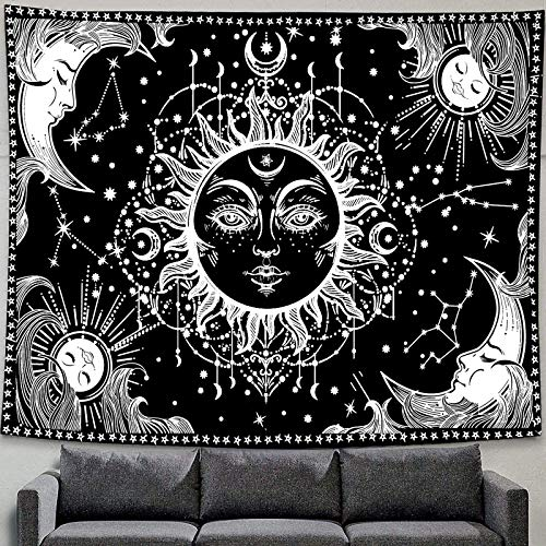 """Sun and Moon Tapestry Black and White Burning Sun with Star Tapestry Bohemian Mandala Wall Art Indian Mystic Wall Hanging for Home Bedroom Living Room Dorm Decor Psychedelic Celestial Tapestry 50""""x60"""""""