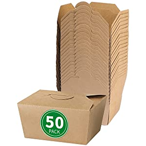 Bloomoon 50 Pack 30 oz Take Out Food Container - Heavy Duty Microwavable Kraft Brown Paper Food To Go Box #1 - Leak Grease Resistant Disposable Recyclable Cardboard Lunch Box for Restaurant, Catering, Party
