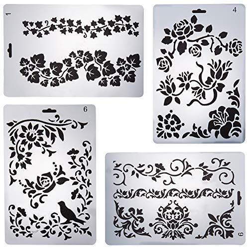 GORGECRAFT 4pcs Plastikzeichnung Malerei Schablonen Vorlagen Blumen Pflanzen Grafiken für DIY Kunst Cart Making Journaling Scrapbooking Tagebuch Scrapbook, Weiß
