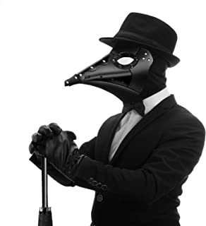 Aqkilo Plague Doctor Mask Black Leather Nightingale Beak Masks Costume Props for Masquerade Halloween Party Carnival Cosplay