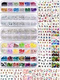 Spearlcable Nail Art Decoration Kit,48 Sheets Nail Stickers Crystal Rhinestones Set 3D Holographic Butterfly Glitter Fruit Nail Art Slices Iridescent Nail Sequins for Acrylic Nail Art