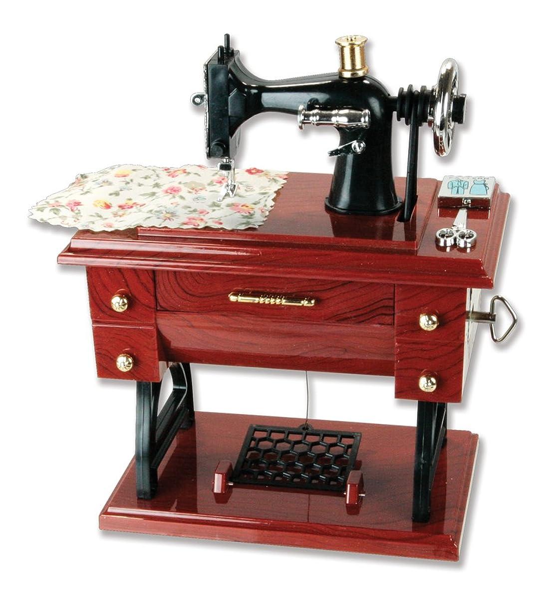 Patty Both Musical Sewing Machine Music Box Vintage Look (Brown-1)