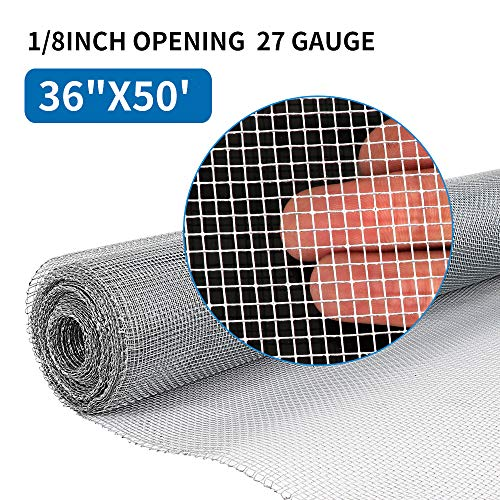 Amagabeli 36in x 50ft 1/8 inch Hardware Cloth 27 Gauge Galvanized Steel Wire Rolled Woven Hardware Cloth For Keep Bees Wasps and Mid to Large-Sized Insects