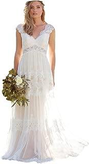 Dressesonline Women's V-Neck Bohemian Wedding Dresses Lace Appliques Bridal Gown Vestido De Noivas