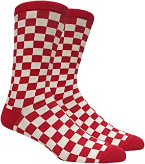 Mens Red and White Checkered Socks